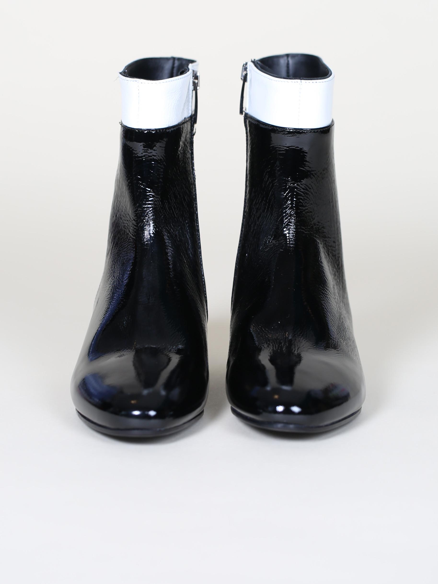 noir blanc Bottines cuir et verni qSzVLUMpG