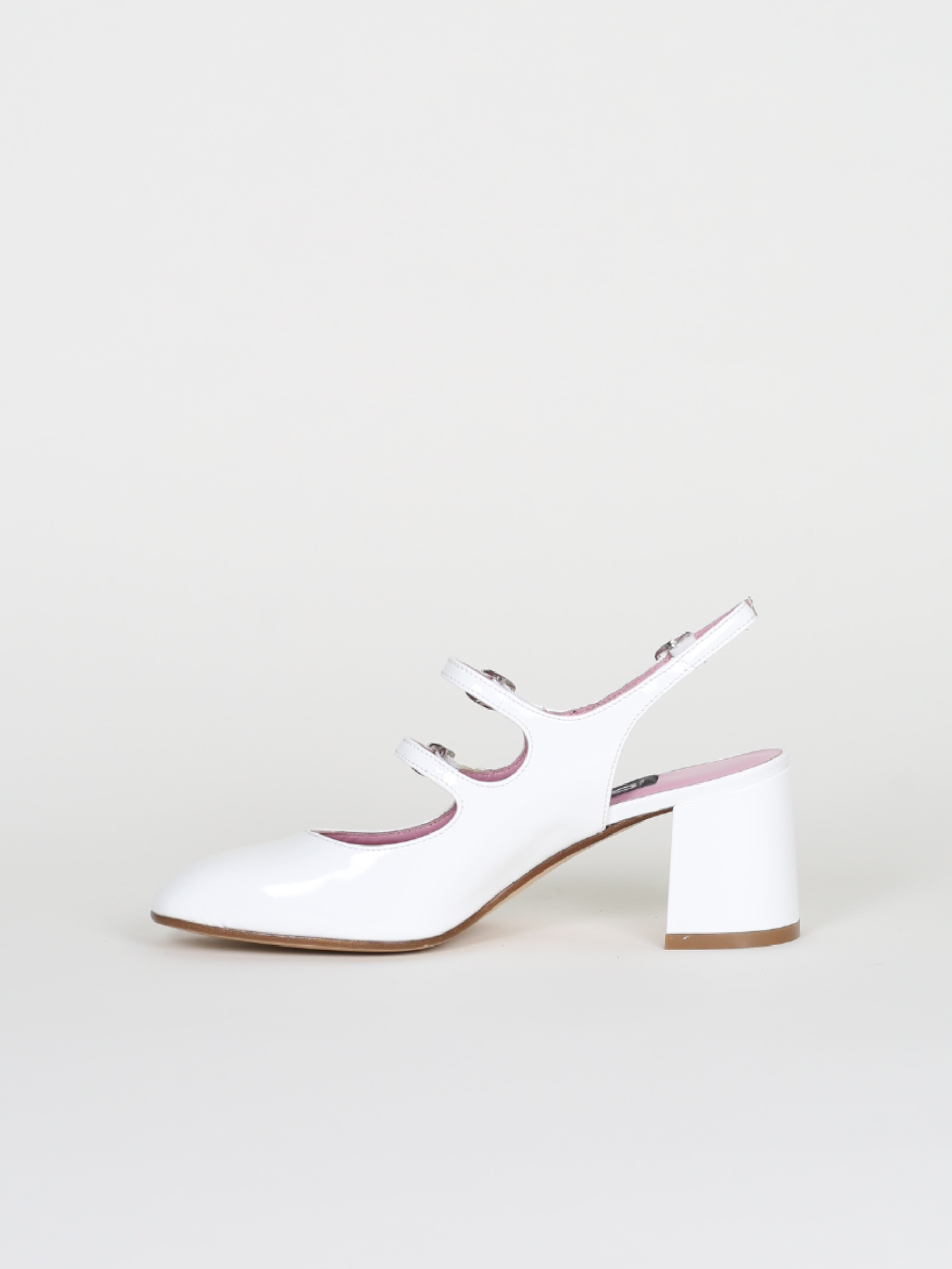 White patent leather mary janes