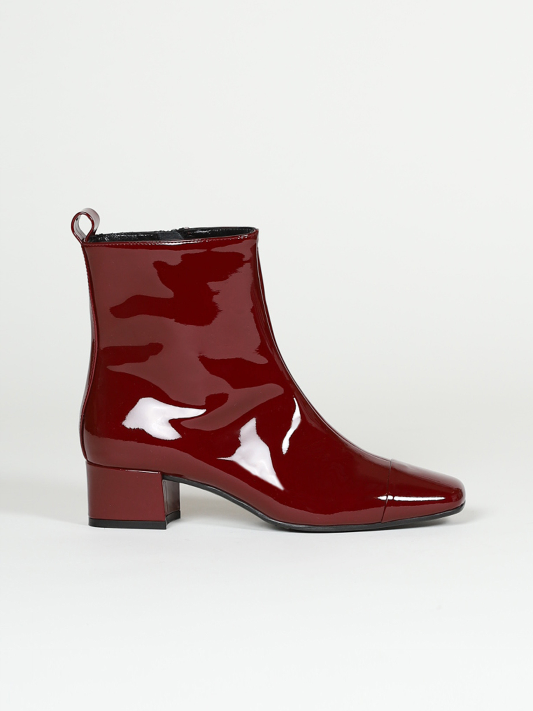Burgundy patent leather ankle boots