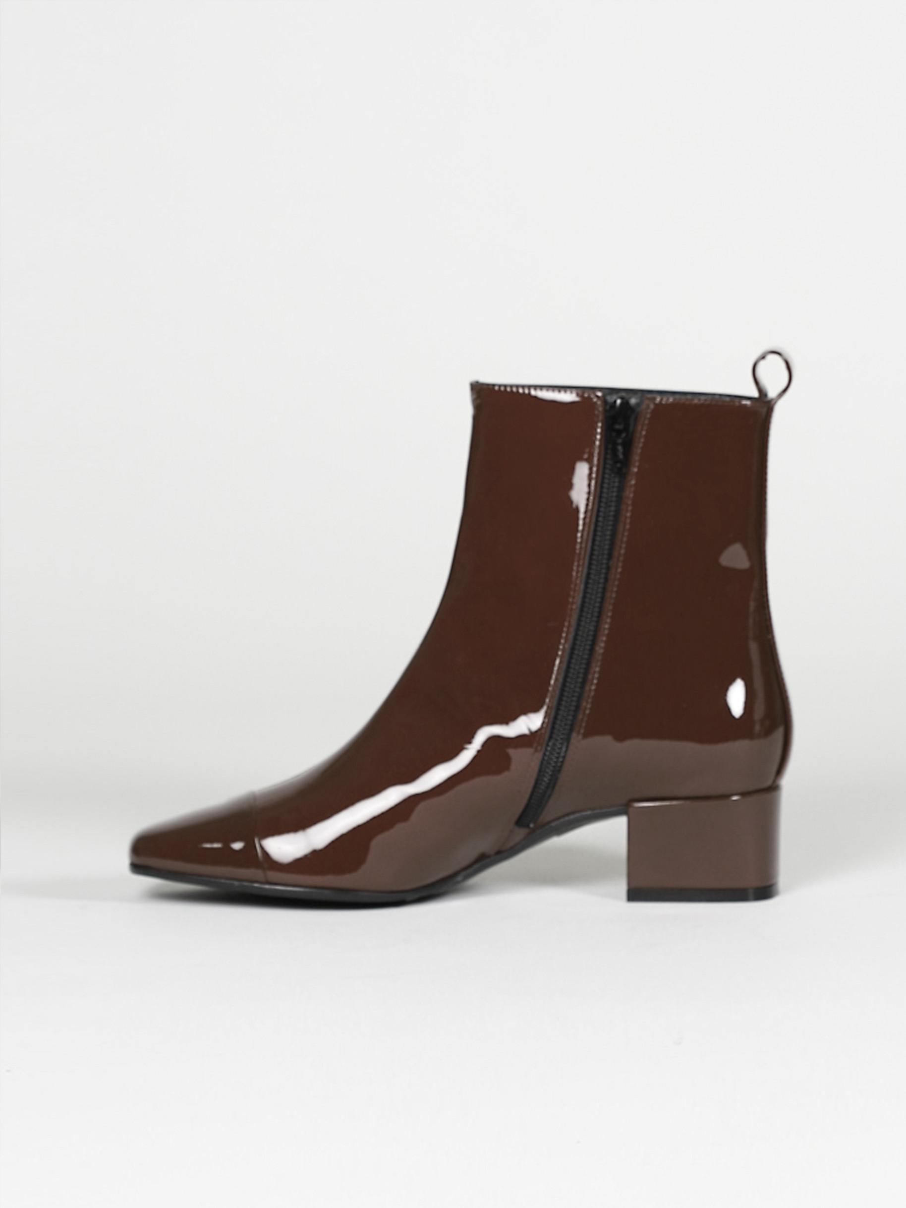 bottines vernis marron